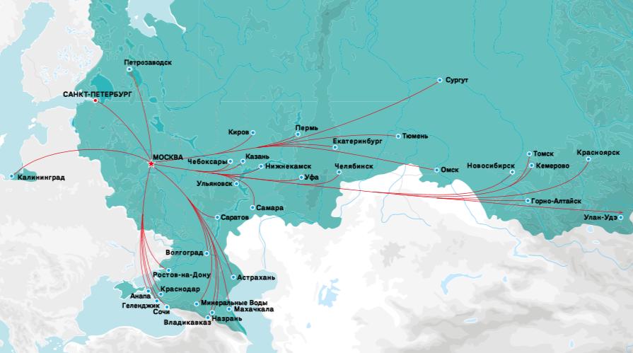 Карта полетов Победы из Москвы по России