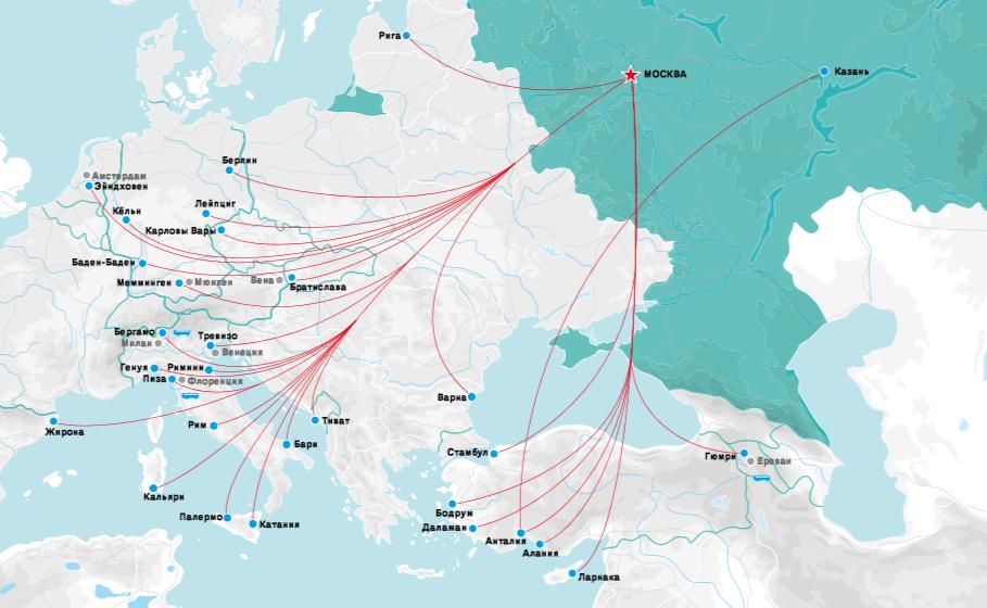 Карта рейсов Победы за границу